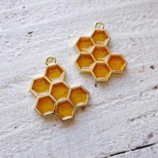 蜂蜜付き♪ハニカムチャーム(2個)