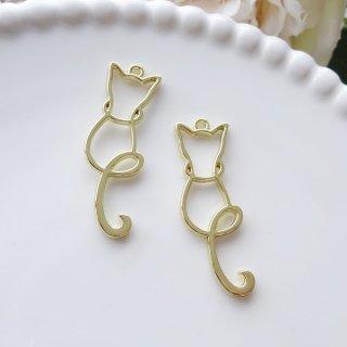 猫のシルエットチャーム(2個)