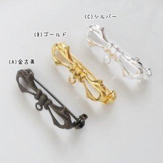 [3036]リボンブローチ・ゴールド(1個)