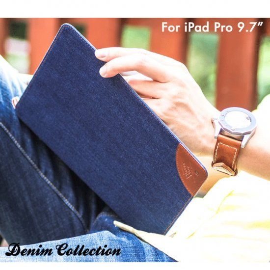 アイパッドプロ ケース 手帳型 レザー(9.7インチ) デニム 素材 カード収納 おしゃれ iPad Pro 手帳型レザーケースpro97-06-l606…