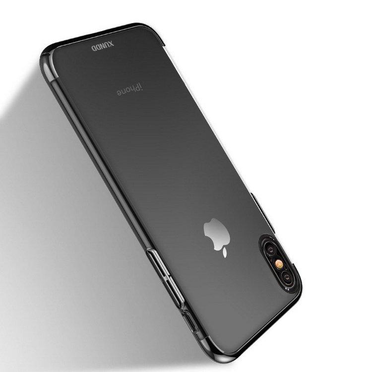 iPhone X クリア ケース シンプル スリム メッキ アイフォン10 ハードカバーXD【送料無料】