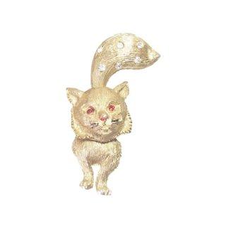 JJ・可愛い金色の猫のブローチ