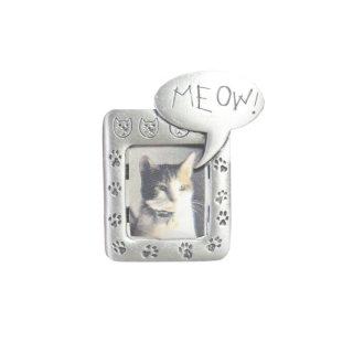 JJ・猫の銀色フォトフレームブローチ