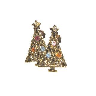 ホリークラフト・アンティークゴールド色クリスマスツリーのイヤリング