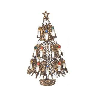 アート・12本の蝋燭が灯ったクリスマスツリーブローチ