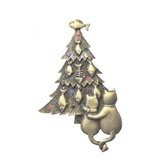 JJ・クリスマスツリーを眺める2匹の猫のブローチ