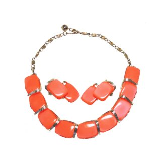 リスナー・鮮やかなビビットカラーのオレンジ色ネックレスセット
