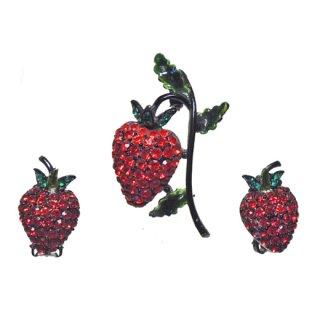 ホリークラフト・大人可愛い苺のブローチセット