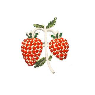 ホリークラフト・愛らしい二粒の赤い苺のブローチ