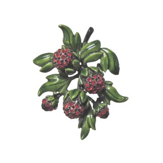 ホリークラフト・ラズベリーのような赤い実のブローチ