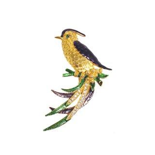 スフィンクス・極楽鳥のような美しい鳥のブローチ