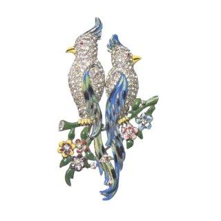 コロデュエット・ペアの青いオウムのブローチ(特許)