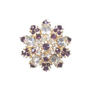 リスナー・紫色ラインストーンの大人シックなブローチ