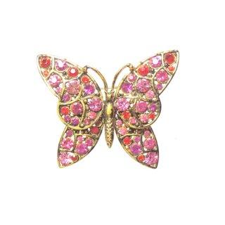 ホリークラフト・鮮やかなピンクラインストーンの蝶のブローチ