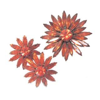 ジュディーリー・鮮やかなオレンジ色のお花のブローチセット