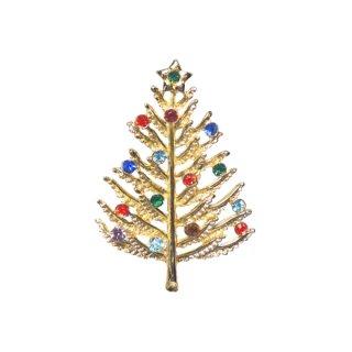 金色リーフのクリスマスツリーブローチ