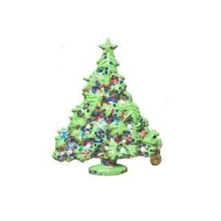 金色チャーム付きクリスマスツリーブローチ
