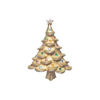 カラフルなラインストーンのクリスマスツリーブローチ