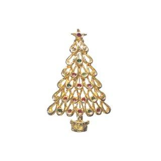 雫型透かし模様のクリスマスツリーブローチ