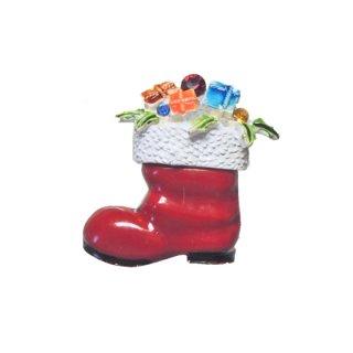 アート・赤いクリスマスブーツのブローチ