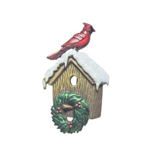 JJ・赤い小鳥と巣箱のクリスマスブローチ