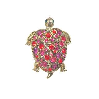 ホリークラフト・ラブリーなピンクの亀のブローチ