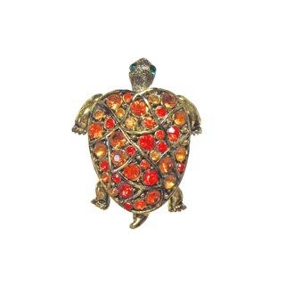 ホリークラフト・お洒落なオレンジの亀のブローチ