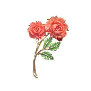 JJ・薔薇と小さなテントウ虫のブローチ