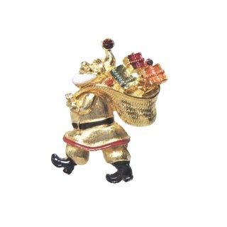 アート・金色のサンタのクリスマスブローチ
