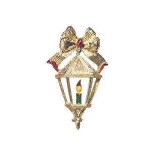 ゲリーズ・金色のリボンとキャンドルのクリスマスブローチ