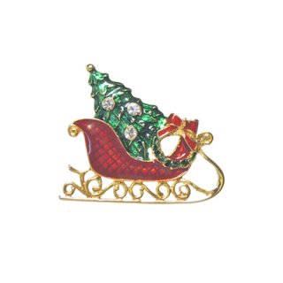 アイゼンバーグ・小さなソリとツリーのクリスマスブローチ