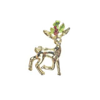 ゲリーズ・小さな鹿とヒイラギの葉のクリスマスブローチ