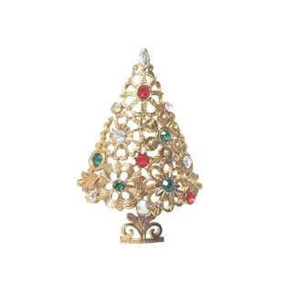 マイルー・お花で飾られた愛らしいクリスマスツリーブローチ