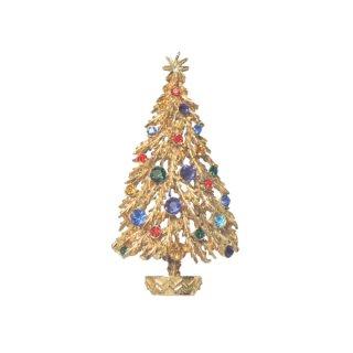 アート・金色のモミの木のクリスマスツリーブローチ
