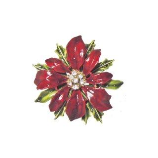 アート・赤いポインセチアのクリスマスブローチ