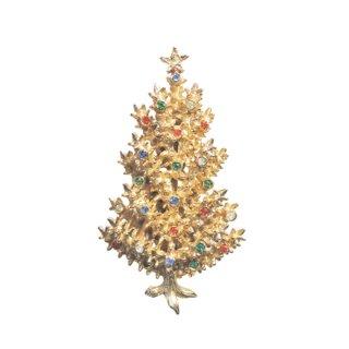 アート・立体感があるゴールドカラーのクリスマスツリーブローチ