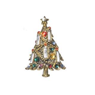 ホリークラフト・キャンドルが灯るクリスマスツリーブローチ