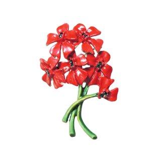 B.S.K・可愛らしい赤いお花のブーケのブローチ