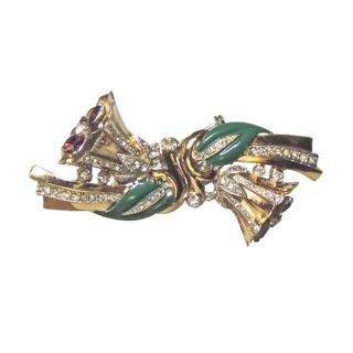 コロデュエット・魅惑的な二輪のお花とリーフのブローチ(特許)