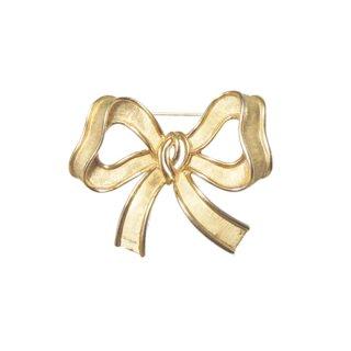 トリファリ・ラブリーな金色リボンのブローチ