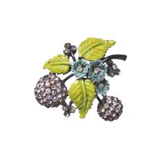 ホリークラフト・ラベンダー色の実と青いお花のブローチ
