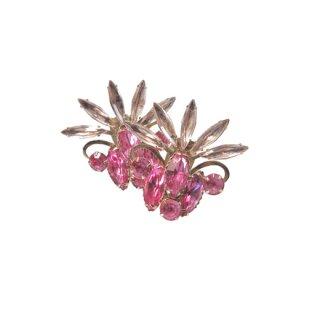 ジュディーリー・華やかなピンクラインストーンのイヤリング