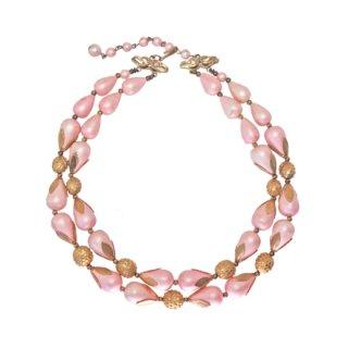 ドーヴィル・シルクような光沢のピンクの2連ネックレス