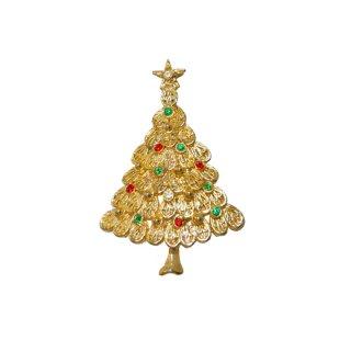 透かし模様の金色クリスマスツリーブローチ