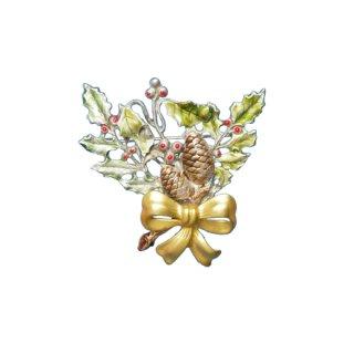 KC・松ぼっくりとヒイラギのクリスマスブローチ
