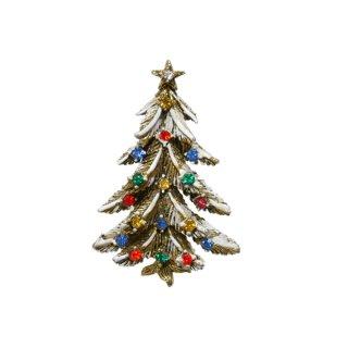 アート・雪が積もったモミの木のクリスマスツリーブローチ