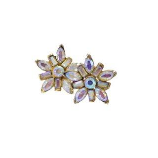 ペル・輝くラインストーンのお花のイヤリング
