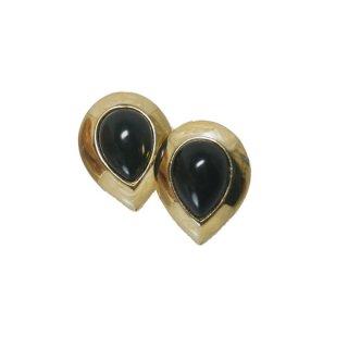トリファリ・ブラック&ゴールドの雫型イヤリング