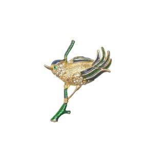 スフィンクス・枝にとまった可愛い小鳥のブローチ
