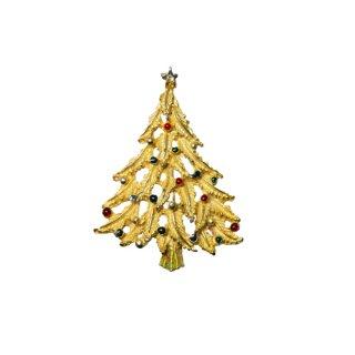 カラフルなドットで飾られたクリスマスツリーのブローチ